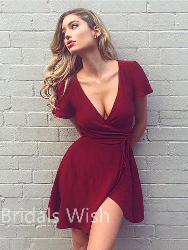 A-Line V-Neck Burgundy Chiffon Short Homecoming Dresses, BW0048