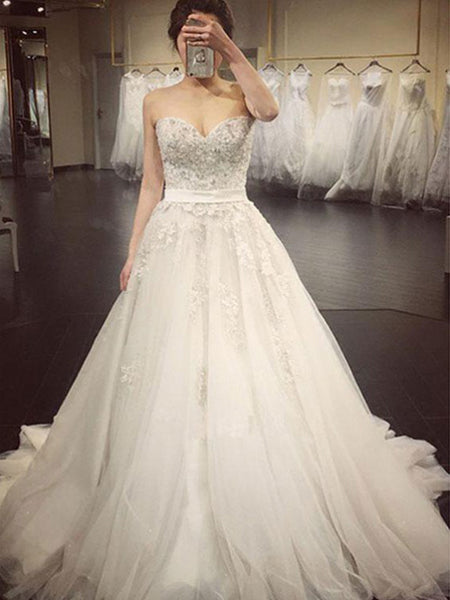 Chic Lace Top Sweet Heart Wedding Dresses, BW0634