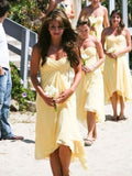 Cheap Sweet Heart Light Yellow High-Low Short Bridesmaid Dresses , BW0438