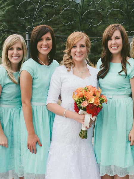 Pretty Lace Mint Green Short  Long Bridesmaid Dresses , BW0422