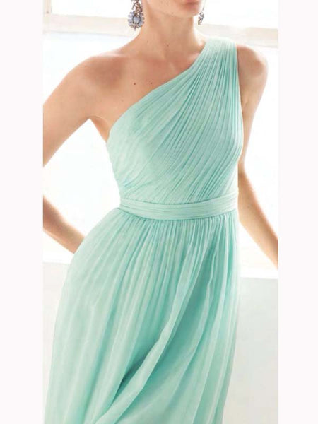 Cheap Mint Green One Shoulder Long Bridesmaid Dresses , BW0421