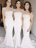 Elegant One Shoulder with Sweep Train Bridesmaid Dresses , BW0449