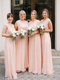 Unique Cowl Round Neck Pink Long Bridesmaid Dresses , BW0406