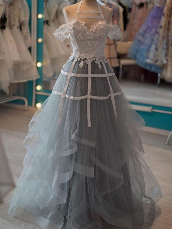 Lovely Lace Top Off The Shoulder Halter Sweet Heart Grey Organza Long Evening Prom Dresses, BW0299