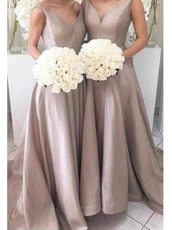 Elegant Satin V-Neck with short train Bridesmaid  Long Bridesmaid Dresses , BW0194