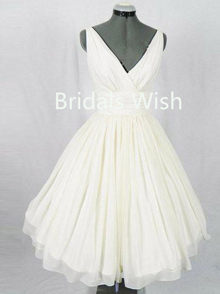 Cheap V-neck Chiffon Short Homecoming Dresses, BW0046