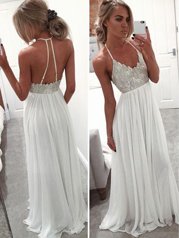 White Halter Lace Top Scoop Neck Backless Long Evening Prom Dresses, BW0117