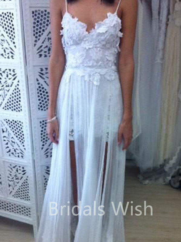 Stunning Backless White Lace Spaghetti Straps Chiffon Long Wedding Dresses Online, BW0086