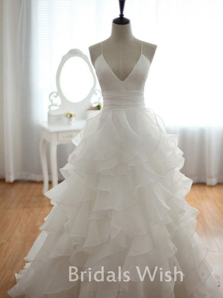 A-line  V-Neck Spaghetti Strap Ruffles  Wedding Dress EW0116