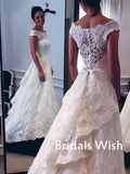 Elegant White Lace Off-shoulder Wedding Dress With Train EW0125