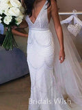 Charming V-neck Beading Mermaid Wedding Dress With Train EW0119