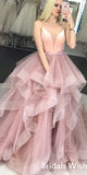 Charming Spaghetti Strap Deep V-neck Organza Prom Dress EW0117