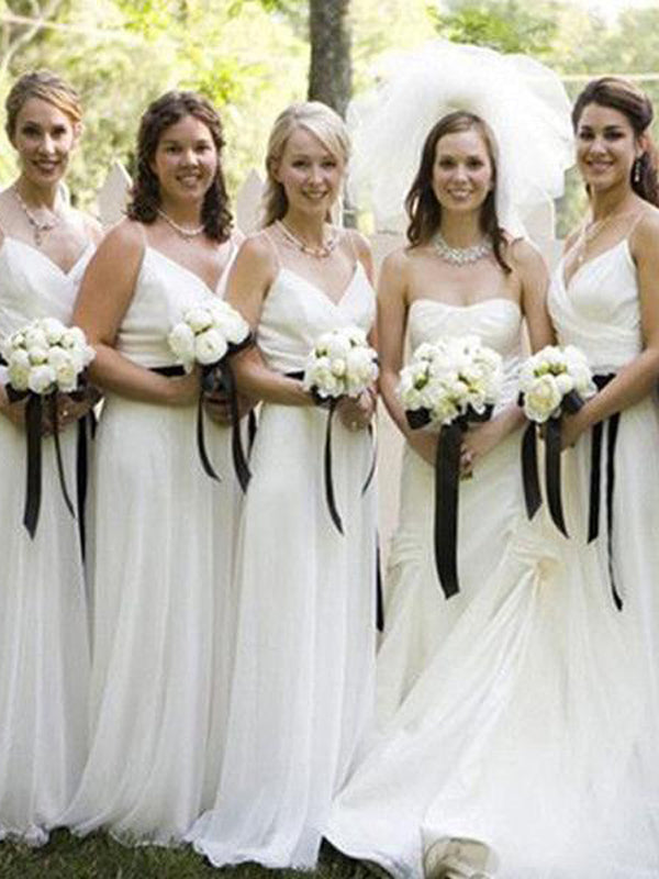 Pretty White Tulle Spaghetti Strap V-Neck Long Bridesmaid Dresses , BW0499
