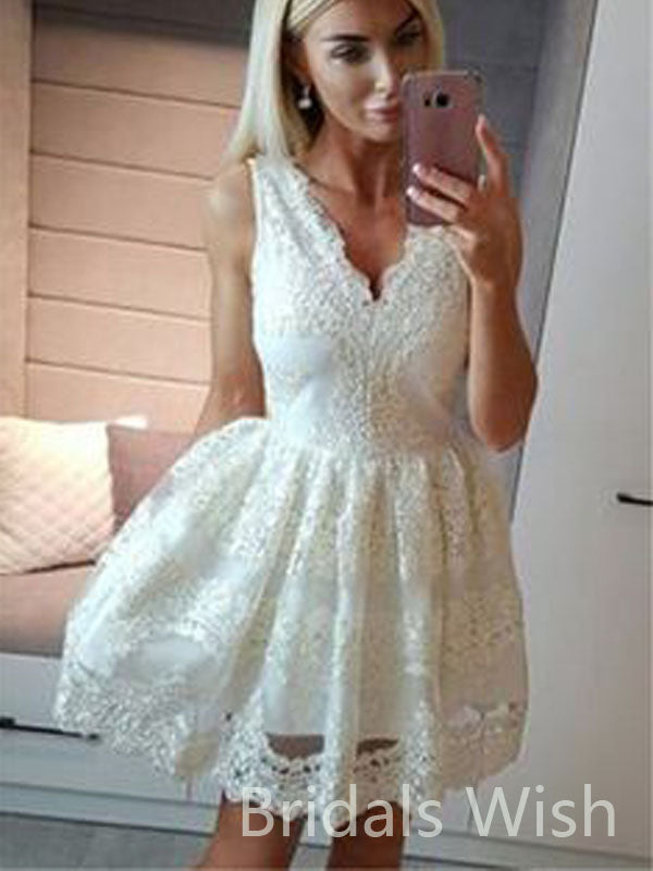 Elegant Lace V-neck White Short Homecoming Dresses, BW0094