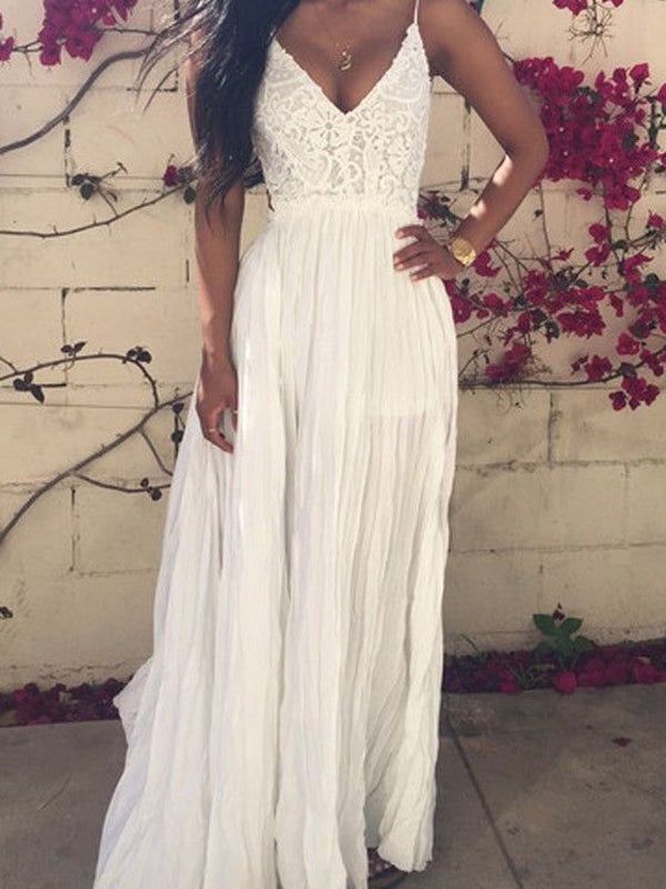 Simple White Lace Top V-Neck Long Evening Prom Dresses, BW0115