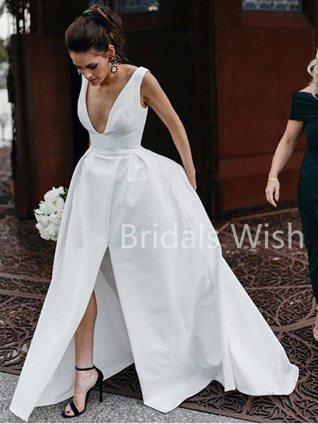 Gorgeous Classic V-Neck Side Slit Simple Long Wedding dresses , BW0012