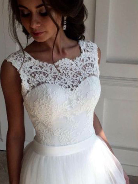 Gorgeous Lace Top Lace up Back Wedding Dresses, BW0632