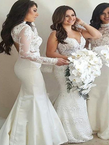 Gorgeous Lace Top Open Back with Sweep Train Bridesmaid Dresses , BW0495