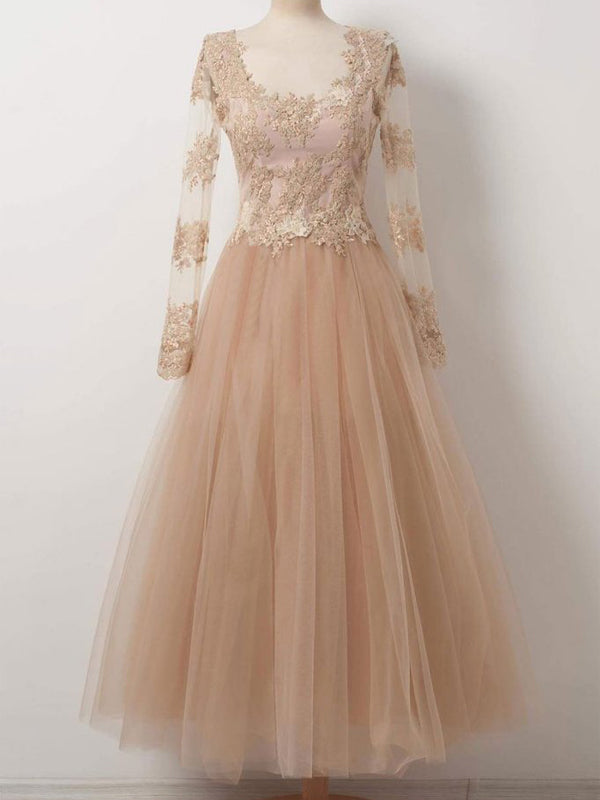 Champagne Lace Applique Top Long Sleeves Long Evening Prom Dresses, BW0297