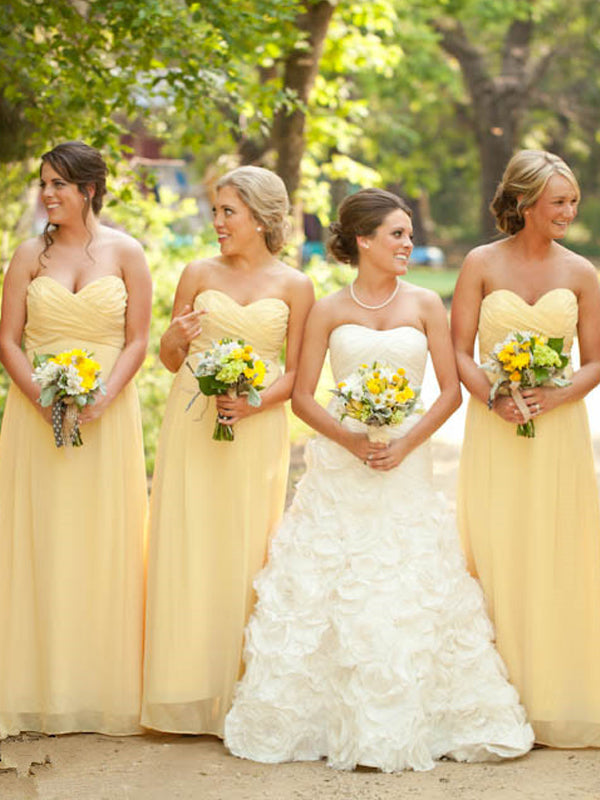 Cheap Light Yellow Sweet Heart Long Bridesmaid Dresses , BW0486