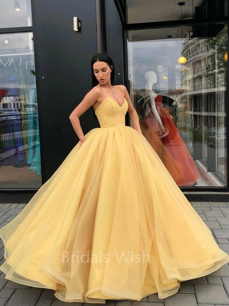 Charming Organza Ball Gown Sweet Heart Long Evening Prom Dresses, BW0307