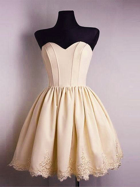 Light Yellow Sweet Heart Lace up back Short Homecoming Dresses, BW0147