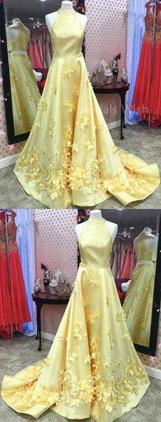 Pretty Halter Applique Yellow Long Evening Prom Dresses, BW0625