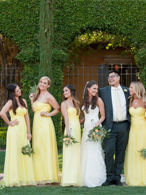 Pretty Yellow Sweet Heart Long Bridesmaid Dresses , BW0485