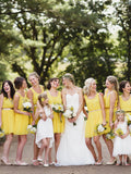 Simple Yellow Scoop Neck Satin Waistband Short Bridesmaid Dresses , BW0491