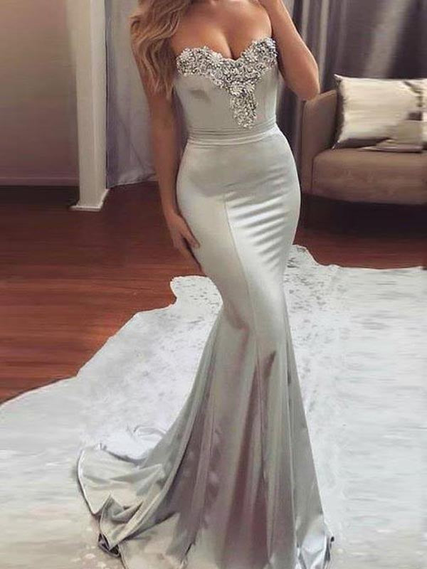 Shinning Beaded Applique Sweet Heart Mermaid Sweep Train Evening Prom Dresses, BW0547