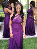Elegant Purple One Shoulder Long Bridesmaid Dresses, BW0171