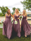 Pretty Purple Spaghetti Strap V-Neck Long Bridesmaid Dresses , BW0475