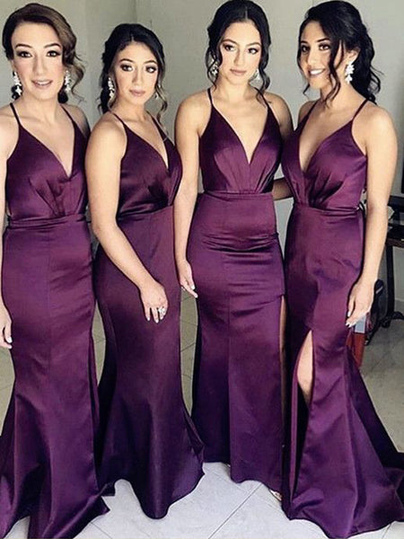 Charming Purple Spaghetti Strap Deep V-Neck Side Slit Long Bridesmaid Dresses , BW0474