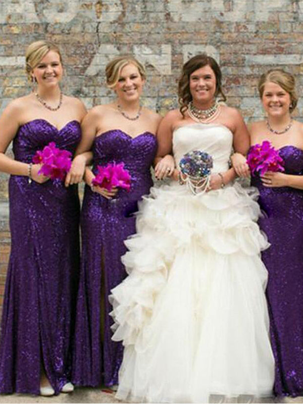 Shinning Purple Sequin Sweet Heart Side Slit Floor Length Bridesmaid Dresses , BW0509