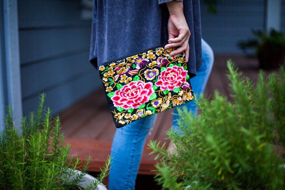 Good Karma Embroidered Wristlet