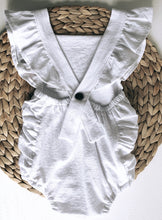 Load image into Gallery viewer, Summer White Baby Romper Ruffle Detail