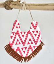 Load image into Gallery viewer, Cotton Pink Aztec Print Orange Reversible Bib