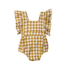 Load image into Gallery viewer, Yellow Mustard Check Ruffled Romper with Back Detail