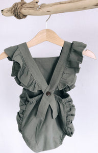 Cross Back Romper Olive