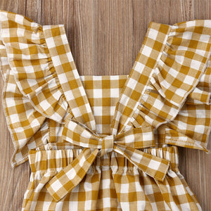 Yellow Mustard Check Ruffled Romper with Back Detail