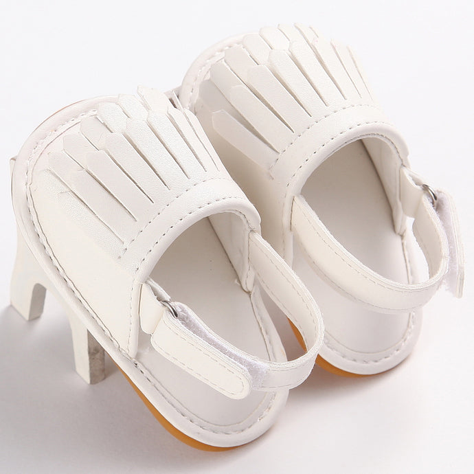 White Fringed Sandals with Velcro