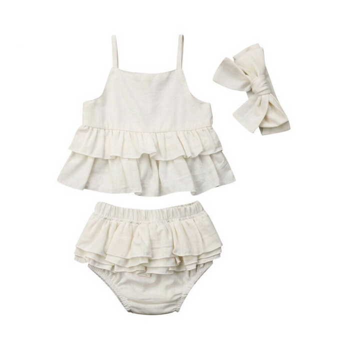 Cotton Natural Ruffle Top and Bloomers with a Headband Bow