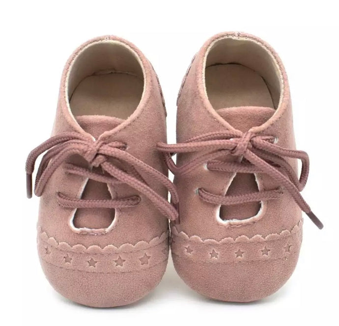 Baby Brogue Shoes Dusty Pink