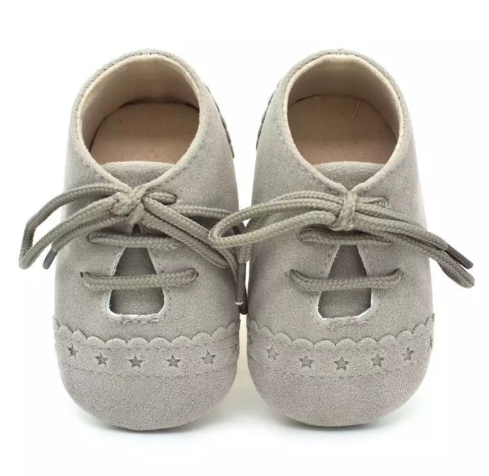 Baby Brogue Shoes Light Grey