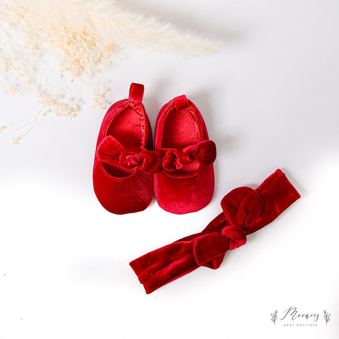 Christmas Red Velvet Pumps and Headband