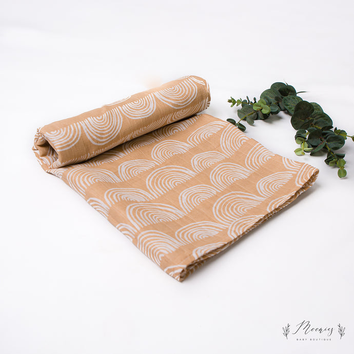 Nude Rainbow Muslin Swaddle