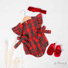 Load image into Gallery viewer, Tartan Bow Romper