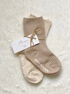 Ribbed Anti-slip Socks Natural/Beige (2 PK)