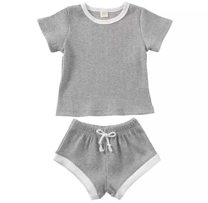 Ribbed Shorts Set Grey