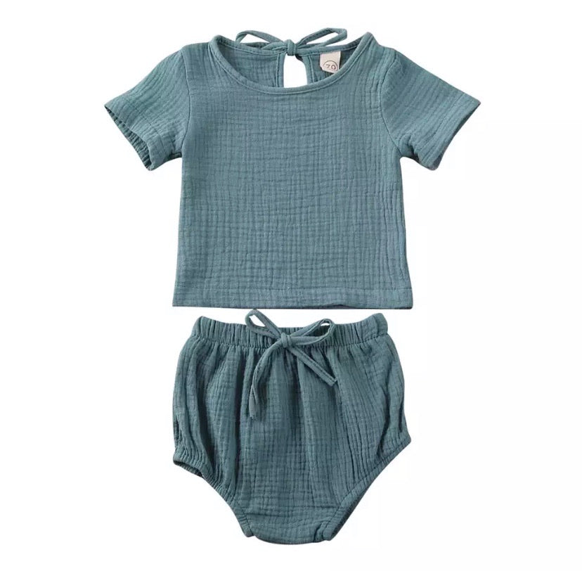 Linen Shorts Set Teal